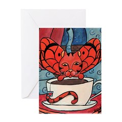 Fairy Cat with Tea Cup Greeting Card