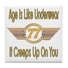 Funny 77th Birthday Tile Coaster