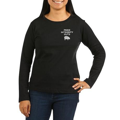 Women's LS Black on White Pocket PIG T-Shirt