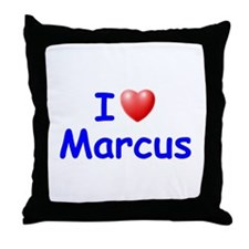 I Love Marcus (Blue) Throw Pillow