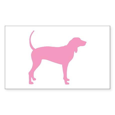 Pink Coonhound Rectangle Sticker