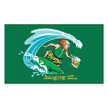 Surf'n Irish Leprechaun Rectangle Sticker