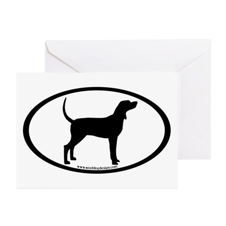 Coonhound #2 Oval Greeting Cards (Pk of 10)