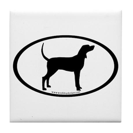 Coonhound #2 Oval Tile Coaster