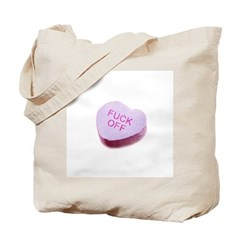Fuck Off Candy Heart Tote Bag