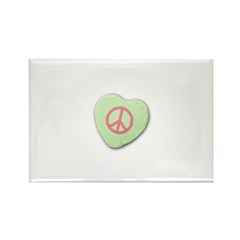 Peace Symbol on a Candy Heart Rectangle Magnet (10