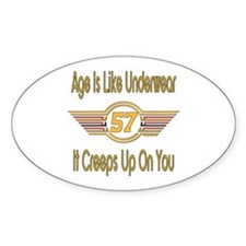 Funny 57th Birthday Oval Decal