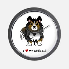 Tri Color Sheltie Wall Clock