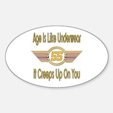 Funny 55th Birthday Oval Decal