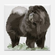 black chow portrait Tile Coaster