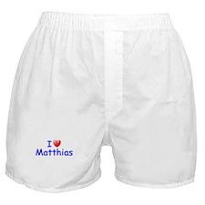 I Love Matthias (Blue) Boxer Shorts