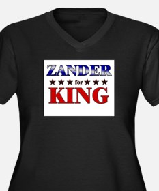 ZANDER for king Women's Plus Size V-Neck Dark T-Sh