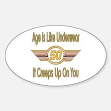 Funny 50th Birthday Oval Decal