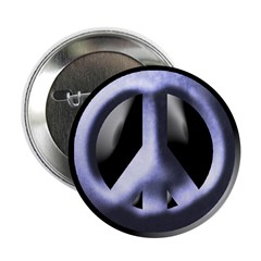 Metallic Blue Peace Sign (button)