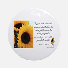Sunflower Quote Ornament (Round)