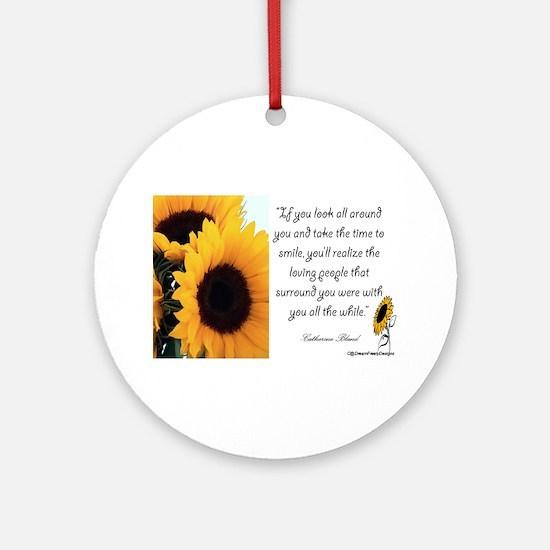 Sunflower Quote Ornament (Round)