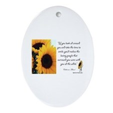 Sunflower Quote Oval Ornament