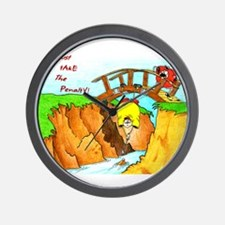 Golf-Hanging From Bridge Wall Clock