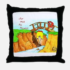 Golf-Hanging From Bridge Throw Pillow