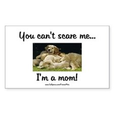 Can't Scare Mom (puppies) Rectangle Decal