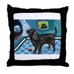 American Water Spaniel sees s Throw Pillow