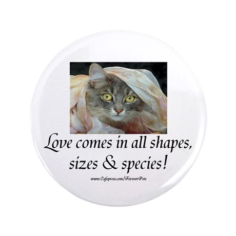 "Love Comes (cat) 3.5"" Button (100 pack)"