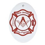 New Jersey Masons Fire Fighters Oval Ornament