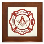 New York Masons Fire Fighters Framed Tile