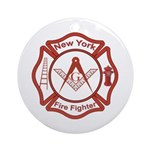 New York Masons Fire Fighters Ornament (Round)