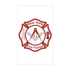 New York Masons Fire Fighters Sticker (Rectangular