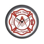 New York Masons Fire Fighters Wall Clock