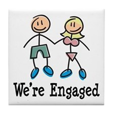 We're Engaged Tile Coaster