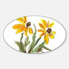 Yellow Flowers Oval Decal