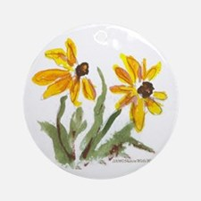 Yellow Flowers Ornament (Round)