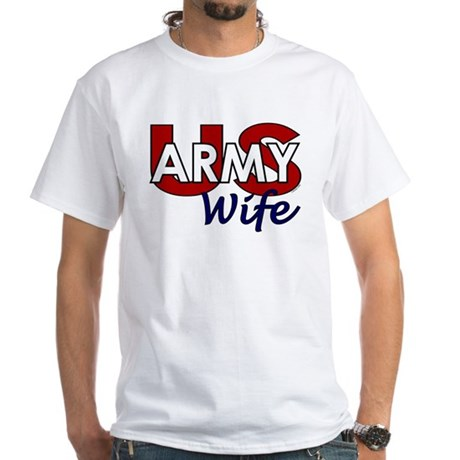 US Army Wife - Patriotic White T-Shirt