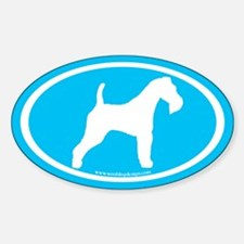 Blue Wire Fox Terrier (wh. on blue) Oval Decal