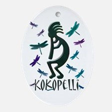 Kokopelli with Dragonflies Oval Ornament