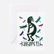 Kokopelli with Dragonflies Greeting Card