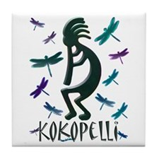 Kokopelli with Dragonflies Tile Coaster