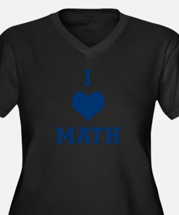 Blue I Heart Math Varsity Women's Plus Size V-Neck