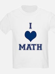 Blue I Heart Math Varsity T-Shirt