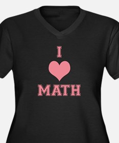 Pink I Heart Math Varsity Women's Plus Size V-Neck