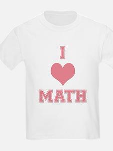 Pink I Heart Math Varsity T-Shirt