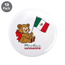 "Mexico Teddy Bear 3.5"" Button (10 pack)"