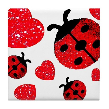 Lady Bugs and Hearts Valentin Tile Coaster