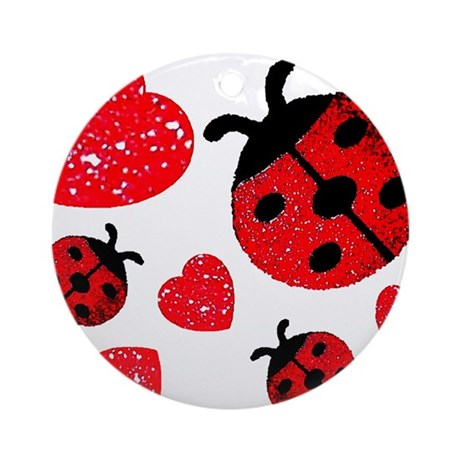 Lady Bugs and Hearts Valentin Ornament (Round)