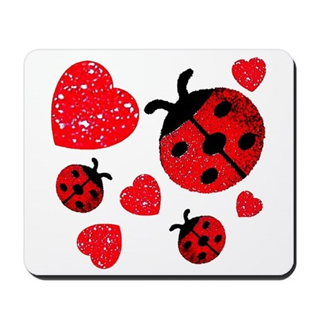 Lady Bugs and Hearts Valentin Mousepad