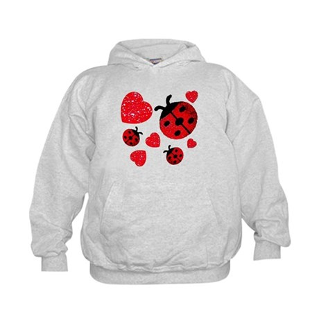 Lady Bugs and Hearts Valentin Kids Hoodie