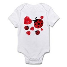 Lady Bugs and Hearts Valentin Infant Bodysuit