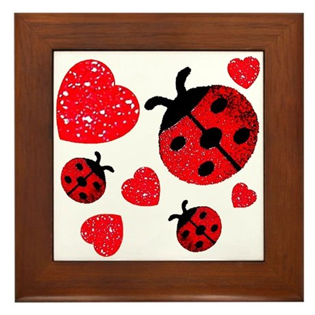 Lady Bugs and Hearts Valentin Framed Tile